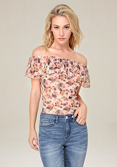 Print Off Shoulder Bodysuit
