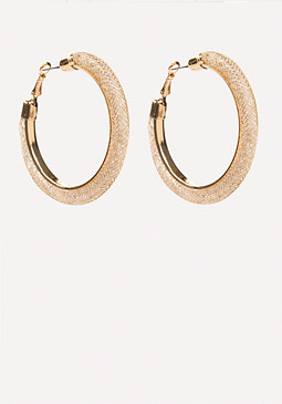 bebe Crystal Wide Hoop Earrings