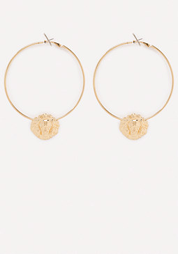 bebe Lion Hoop Earrings