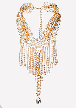 bebe Fringe Statement Necklace