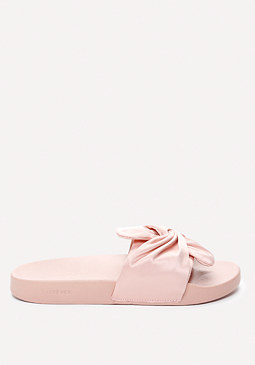 bebe Famke Satin Bow Slides