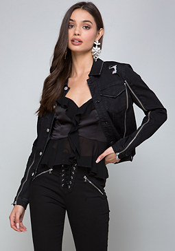 bebe Denim Zip Detail Jacket