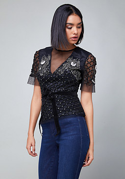 bebe Embellished Top