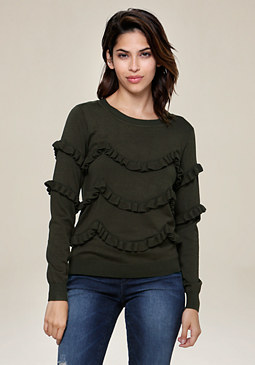 bebe Ruffle Tiered Sweater