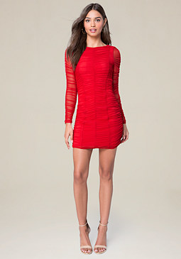 bebe Mesh Long Sleeve Dress
