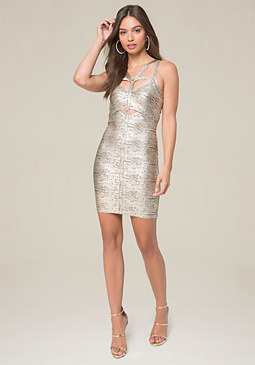 bebe Angelica Foil Harness Dress