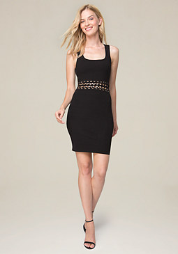bebe Lace Up Waist Dress