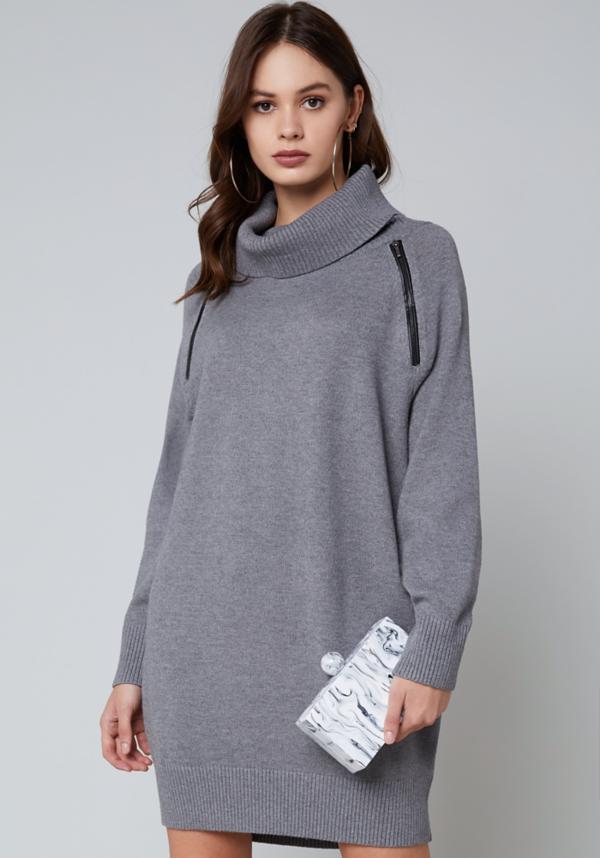 Zip Detail Sweater Dress at bebe in Sherman Oaks, CA | Tuggl