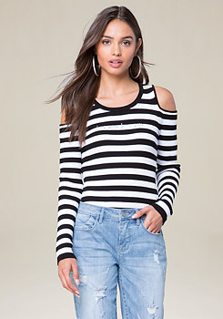 bebe Logo Cold Shoulder Sweater