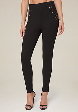 bebe Grommet Lace Up Leggings