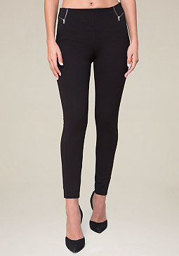bebe Ponte Zip Waist Leggings