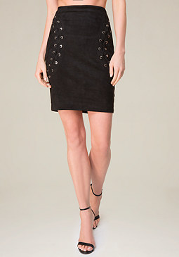 bebe Lace Up Faux Suede Skirt
