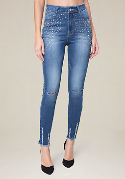bebe Embellished Raw Edge Jeans