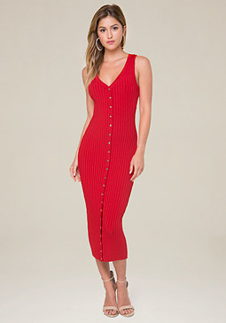 bebe Mindy Button Maxi Dress
