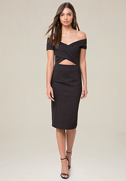 bebe Front Crisscross Midi Dress