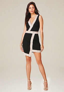 bebe Glam Asymmetric Dress