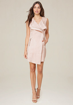 bebe Asymmetric Zip Front Dress