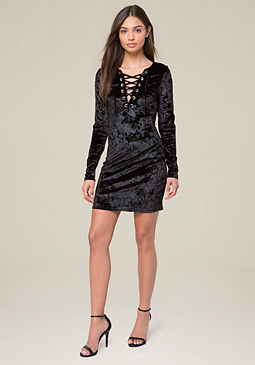 bebe Velvet Lace Up Dress