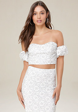 bebe Karen Lace Crop Top