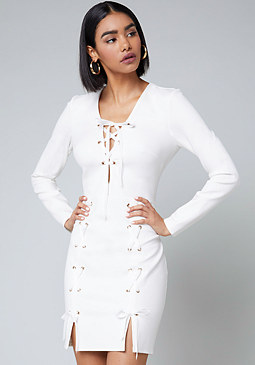 bebe Long Sleeve Lace Up Dress