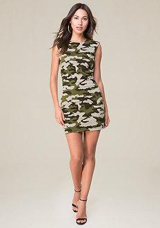 Camo Cap Sleeve Dress