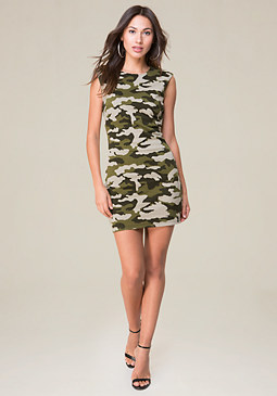 bebe Camo Cap Sleeve Dress