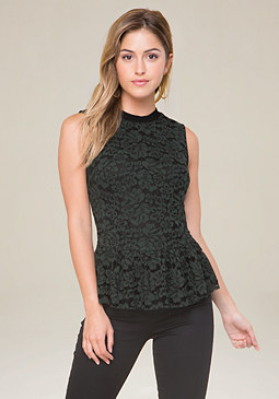 bebe 2-Tone Lace Peplum Top