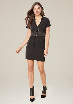 bebe Textured Knit Corset Dress
