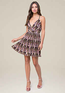 bebe Camo Print Pleated Dress