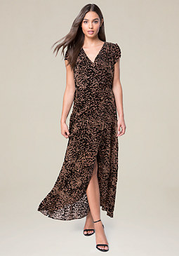 bebe Devore Wrap Maxi Dress