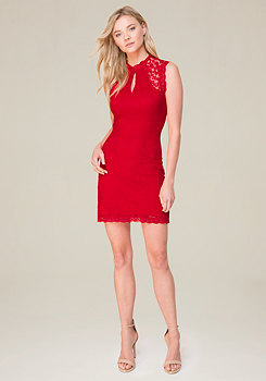 bebe Sleeveless Lace Dress