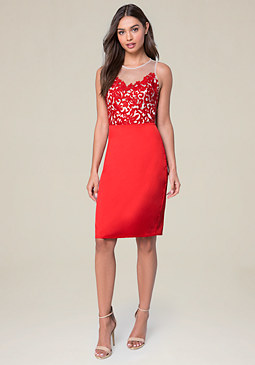 bebe Embroidered Bodice Dress