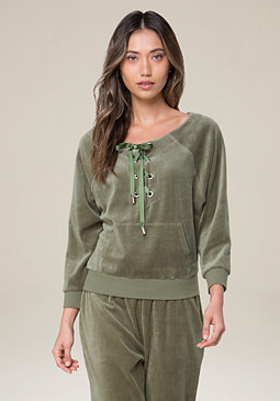 bebe Logo Velour Lace Up Popover