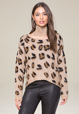 bebe Brushed Leopard Sweater