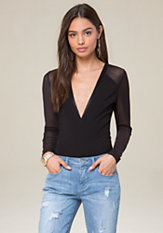 bebe Long Sleeve V-Neck Bodysuit