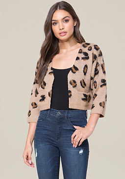 bebe Brushed Leopard Cardigan
