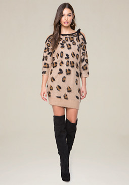 bebe Brushed Leopard Dress