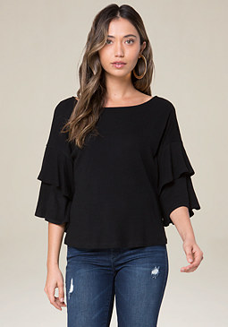 bebe Brushed Rib Knit Top