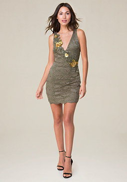 bebe Sequin Lace Dress
