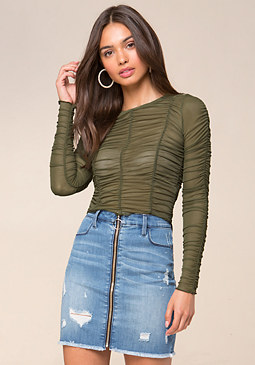 bebe Shirred Mesh Top