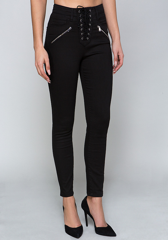 Lace Up High Waist Jeans