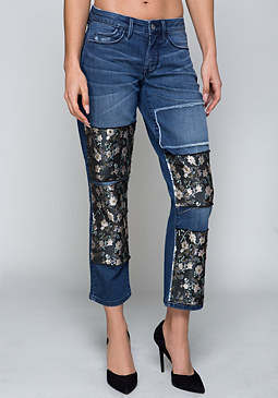 bebe Jacquard Patch Crop Jeans