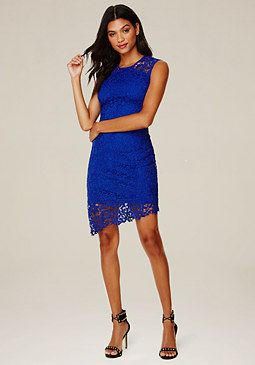 bebe Lace Asymmetric Dress