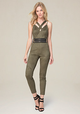 bebe Strappy Faux Suede Jumpsuit