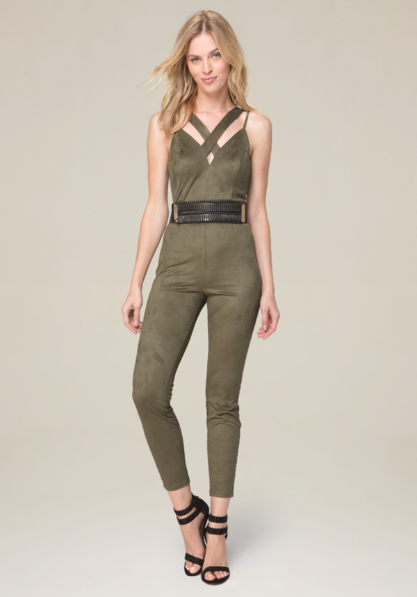 Strappy Faux Suede Jumpsuit at bebe in Sherman Oaks, CA | Tuggl
