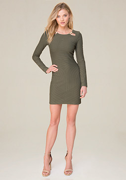 bebe Long Sleeve Moire Dress