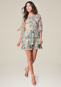 bebe Print Ruffle Dress
