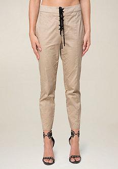 Front Lace Up Crop Pants
