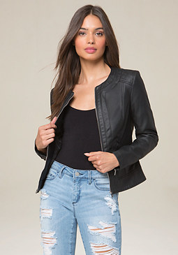 bebe April Quilted Moto Jacket