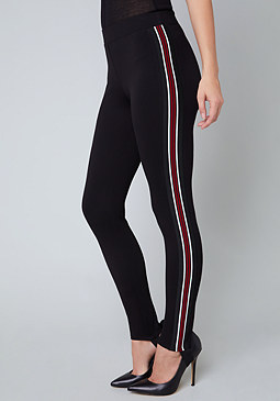 bebe Striped Stirrup Leggings